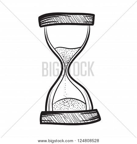 Hourglass sandglass sand timer sand watch sand clock vector hand drawn illustration icon