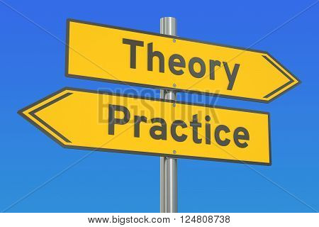 theory or practice concept on the road signpost 3D rendering