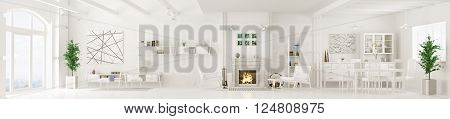 Interior of white apartment, living room, dining room, lounge area with fireplace, panorama 3d rendering