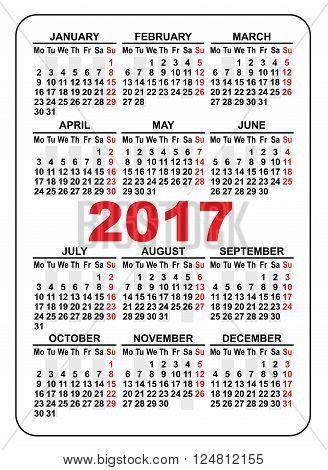 Pocket calendar 2017. First day Monday. Illustration in vector format