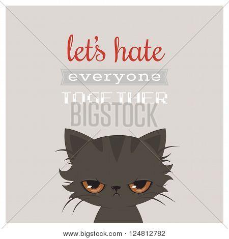 Angry cat cartoon. Cute grumpy cat, vector illustration. Grumpy cat greeting card.