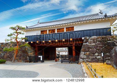 MATSUMOTO JAPAN - NOVEMBER 21 2015: Ninomon (Inner Gate) at Matsumoto Castle in Matsumoto City Nagano Japan