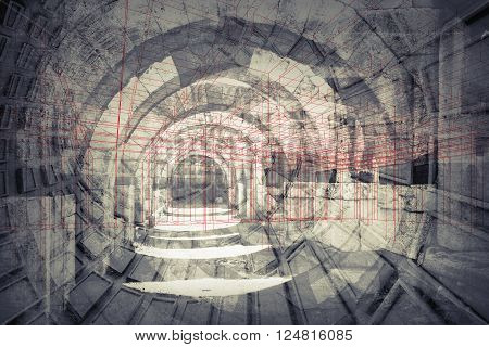 Abstract architecture background. Empty old stone tunnel with modern constructions and wire-frame lattice lines. 3d render illustration with layers of multi exposure effect