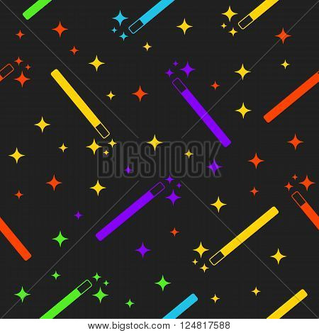 Vector Magic Wand with colorful multicolored magic stars seamless pattern background. Magic wand texture. Magic wand icon. Magic wand stars.Halloween magic wand