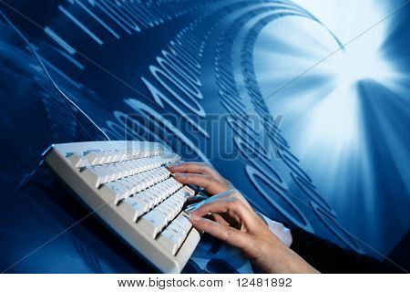 businessman input data