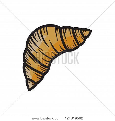 Croissant vector hand drawn illustration brown and black