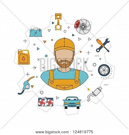 Car mechanic with flat icons tools and spare parts concept. Repair machines equipment. Car service concept. Vector illustration. Auto mechanic icon. Repair car flat design.