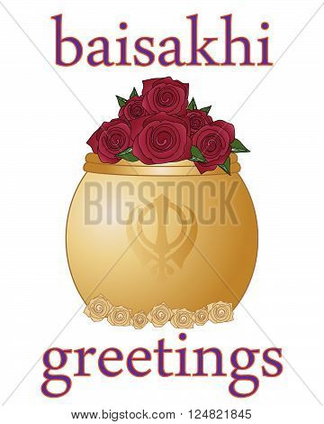 an illustration of a baisakhi greeting card for the sikh religious festival with golde rose bowl on a white background