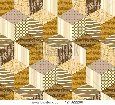 Gold seamless patchwork pattern. Vector illustration of quilt in gold and sandy tones.