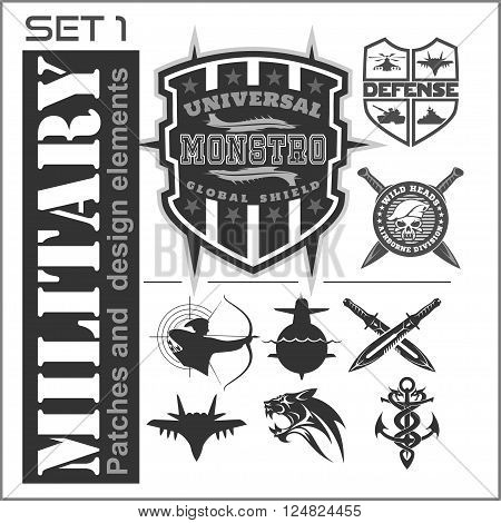 Set of military patches logos, badges and design elements. Graphic template. Vector illustration