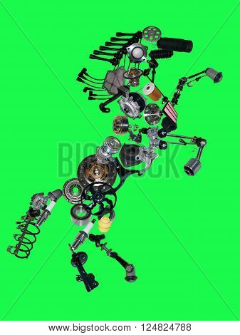 Many new spare parts in the form of a horse isolated on green screen, chroma key