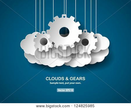 Clouds and gears, abstract concept, paper-cut style. Illustration contains shape of clouds and gears hanging from top. Remove the text before use. Vector EPS 10 file.