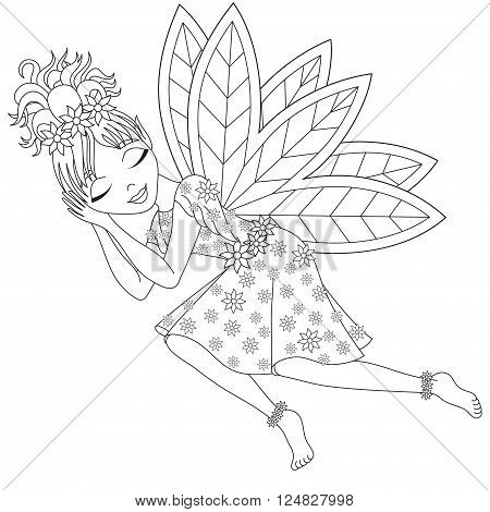 Cute fairy in dress with wings is sleeping, vector illustration, coloring book page for children