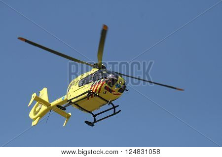 Medemblik  , the netherlands - 12 August,2012 : Medical rescue helicopter on the way to the hospital