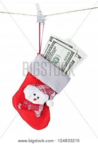 Christmas Stocking Stuffed with Money isolated on white
