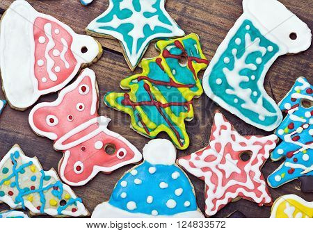 Christmas gingerbread cookies on the table decoration