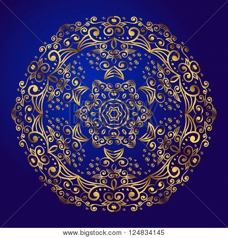 Mandala amulet. Round vintage ornament medallion floral mandala. Esoteric gold symbol on a blue background. Om sign in the eastern style indian ethnic pattern. Hand drawn.