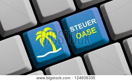 Symbols on blue computer keyboard showing fiscal paradise in german language 3d rendering