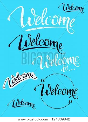 Welcome. Sign, symbol word welcome.Hand lettering, calligraph font  letters and shade. Isolated.