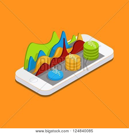 Mobile phone with graphs and reports in the form of diagrams. phone settings, parameters, quotes, curves, diagrams. Vector Isometric phone.