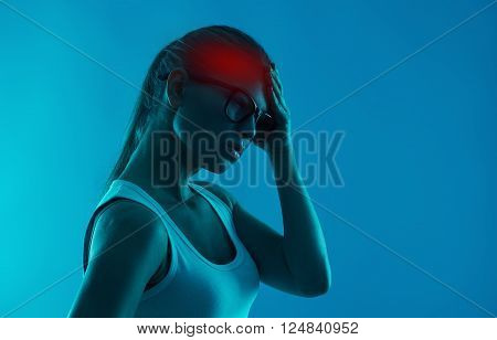 Brain disease. Mental problem. Woman suffering from insomnia and headache. poster