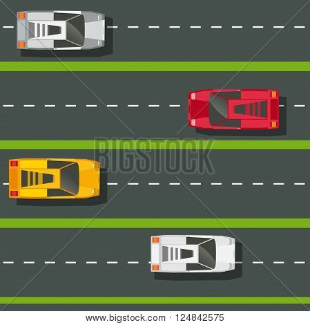 High speed highway with cars seamless pattern