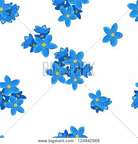 Stylish floral seamless pattern with forget-me-not. Forget me not flowers on white background.