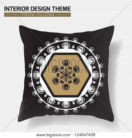 Decorative Throw Pillow design template in Black & Gold. Original pattern is complete masked. Modern interior design element. Creative Sofa Toss Pillow. Vector design is layered editable