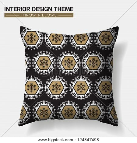 Decorative Geometric Throw Pillow design template in Black & Gold. Original pattern is complete masked. Modern interior design element. Creative Sofa Toss Pillow. Vector design is layered editable