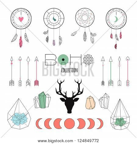 Set boho ethnic elements for design wedding card, invitation, poster. Isolated illustrations with succulent terrarium, dream catchers, feathers, crystals, arrows, moon phases, deer head with antlers