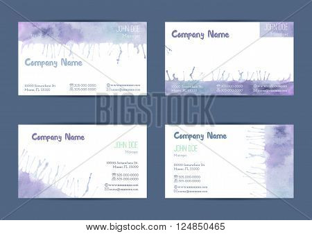Set of hand painted watercolor horizontal business card templates. Colorful pastel abstract blue and purple brush stocks and splashes on a white background. Complied with the standard size.