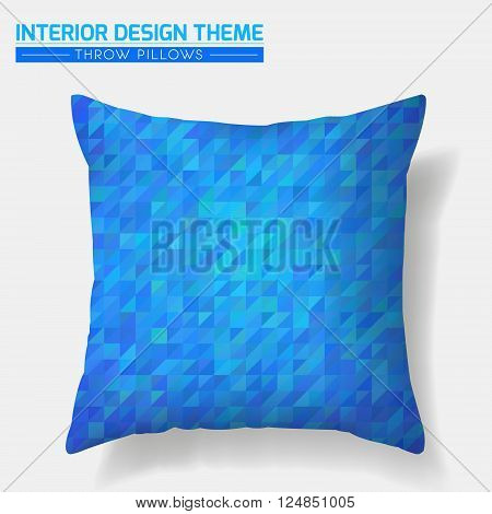 Decorative Blue Mosaic Throw Pillow design template. Original pattern is complete masked. Modern interior design element. Creative Sofa Toss Pillow. Vector design is layered editable