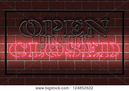 Illustration of a neon CLOSED sign against a dark brick wall