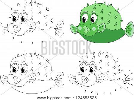 Funny Cartoon Green Pufferfish. Coloring Book And Dot To Dot Game For Kids