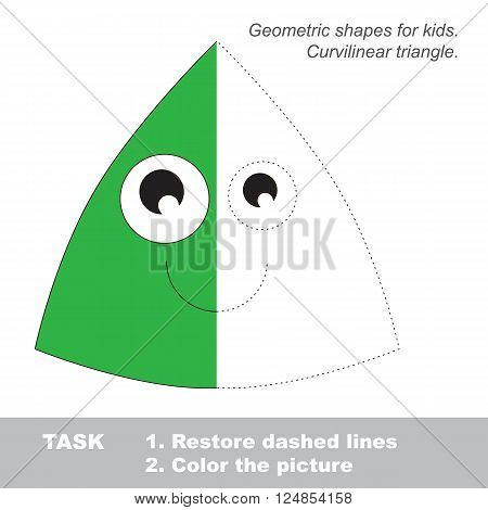 Curvilinear triangle in vector colorful to be traced. Restore dashed line and color the picture. Visual game for children. Worksheet to be colored.