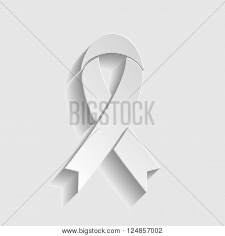 Black awareness ribbon sign. Paper style icon with shadow on gray.