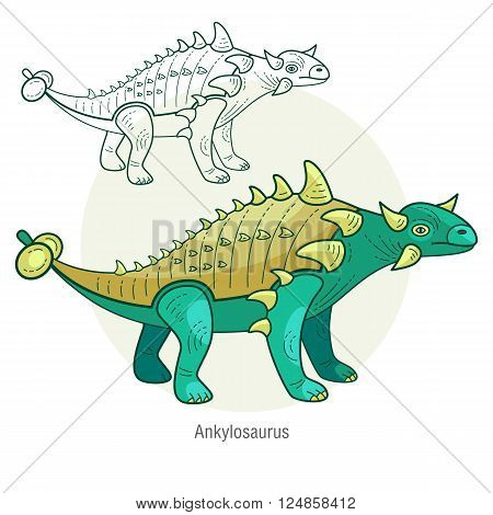 Ankylosaurus. Ancient jurassic reptile vector illustration cartoon prehistoric dinosaur isolated on white background. Full-color flat images animal and abstract linear. poster