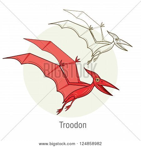 Pterodactyl. Ancient jurassic reptile vector illustration cartoon prehistoric dinosaur isolated on white background. Full-color flat images animal and abstract linear.