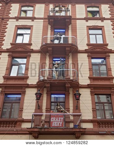 FRANKFURT, GERMANY- APRIL 6, 2016: Red light district, facade of a brothel and strip club in Frankfurt, Germany