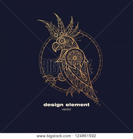 Vector design element - cockatoo. Icon decorative bird isolated on black background. Modern decorative illustration animal. Template for logo emblem sign poster. Concept of gold foil print.