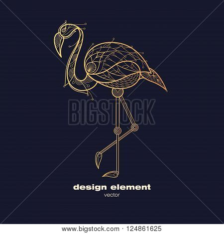 Vector design element flamingo. Icon decorative bird isolated on black background. Modern decorative illustration animal. Template for creating logo emblem sign poster. Concept of gold foil print.