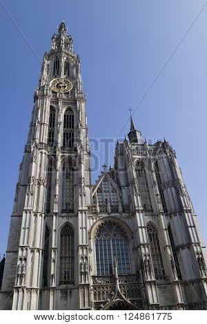 Belgium,Antwerp, March 17, 2016, Onze-Lieve-Vrouwekathedraal on Handschoenmarkt