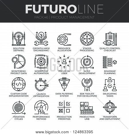 Modern thin line icons set of production management project quality control. Premium quality outline symbol collection. Simple mono linear pictogram pack. Stroke vector logo concept for web graphics.