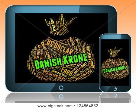 Danish Krone Indicating Foreign Exchange And Text poster