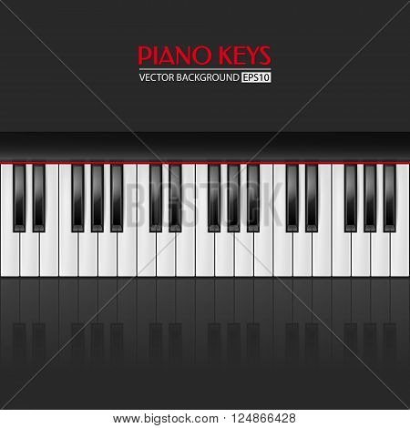 Background with realistic piano keys. Piano design, piano web, piano art, piano app. Vector EPS10 illustration.