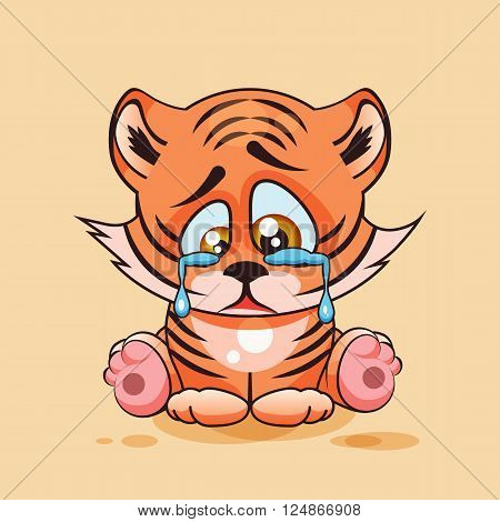 Vector Stock Illustration isolated Emoji character cartoon sad, frustrated Tiger cub crying, tears sticker emoticon for site, infographic, video, animation, website, e-mail, newsletter, report, comic