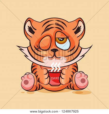 Vector Stock Illustration Emoji character cartoon Tiger cub just woke up with cup of coffee sticker emoticon for site, infographic, video, animation, website, e-mail, newsletter, report, comic