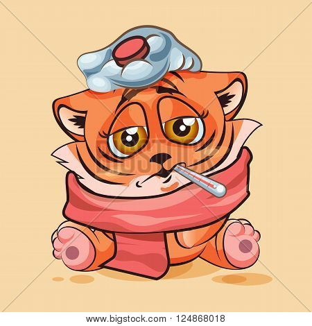 Vector Stock Illustration isolated Emoji character cartoon Tiger cub sick with thermometer in mouth sticker emoticon for site, infographic, video, animation, website, e-mail, newsletter, report, comic