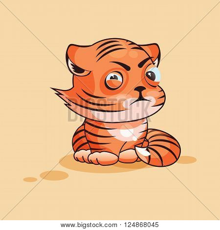 Vector Stock Illustration isolated Emoji character cartoon Tiger cub squints and looks suspiciously sticker emoticon for site, infographic, video, animation, website, e-mail, newsletter, report, comic