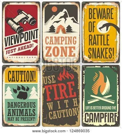 Set of retro outdoor camp signs and poster templates. Warning and info tin signs collection for camping site or national park on old scratched background.